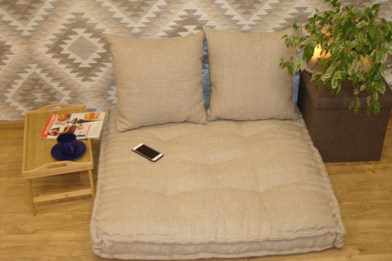 Set  organic floor mattresses.soft linen sofa.Hemp cushion.Zafu & Zabuton.Linen Bench mattress.cushion window.Mat Yoga Meditation relaxation