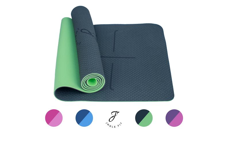 JNGLE FIT EcoFriendly TPE Yoga Mat , Non-Slip with Alignment Lines and Carry Strap. Ideal for Yoga/Pilates/Fitness – 183cm x 61cm x 0.6cm
