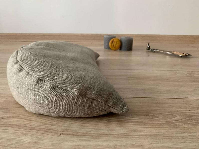 linen meditation Cresсent cushion filled with buckwheat hulls