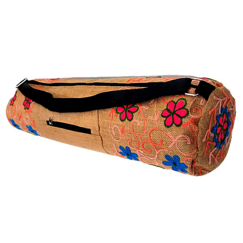 Embroidered Jute Yoga Mat & Gear Bags