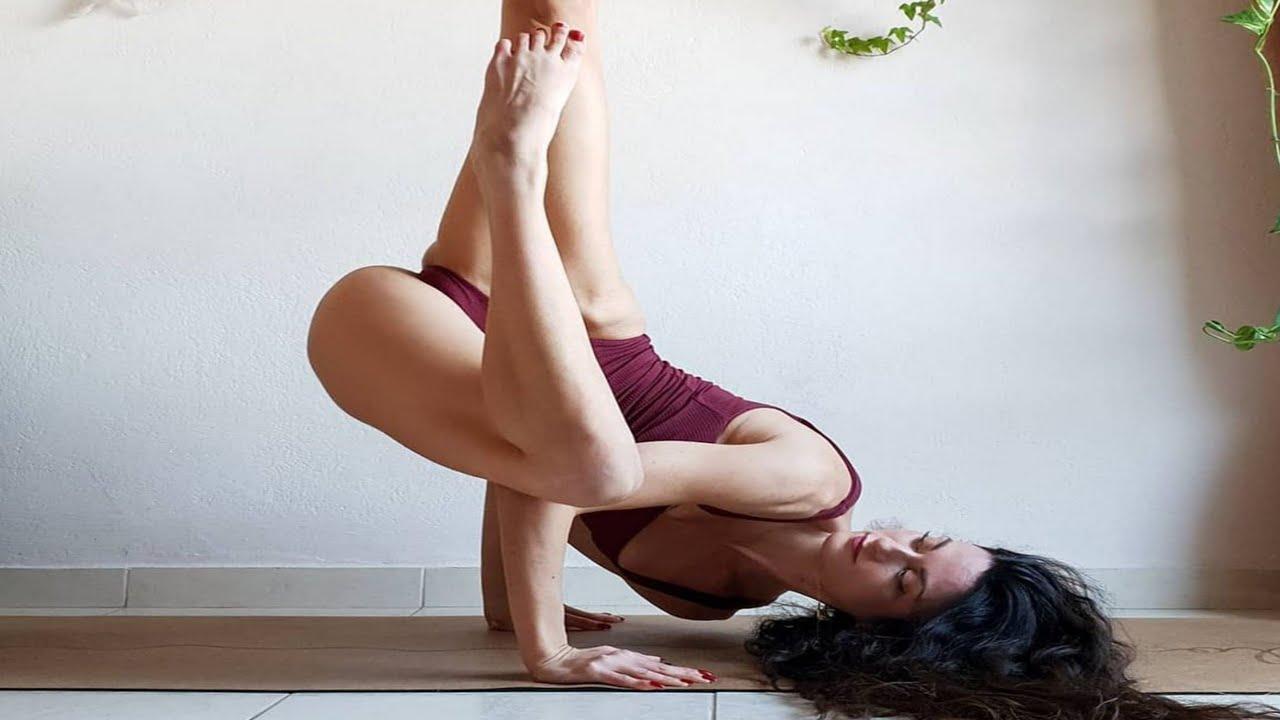 hot yoga girl, Sidecrow pose, balance,  fallenangel pose