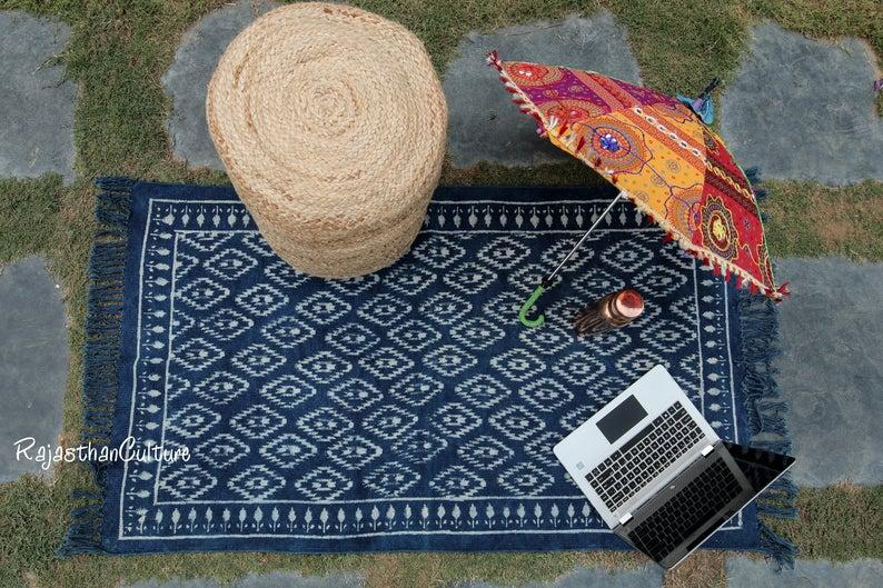 Dari Rug/ Area Rug/ Floor Rug/ Handmade Rug/ Cotton Indigo Rug/ Carpet Rug/ Runner Rug/ Handloom Rug 2×3″ 3×5″ 4×6″ 5×8″ 8×10″ 9×12″