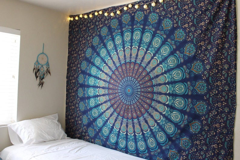 Indian Wall Tapestry, Mandala Wall Hanging Bed Sheets, Large Bedroom Dorm Decor, Beach Tapestry, Peacock Design Yoga Mat Mandala Tapestry