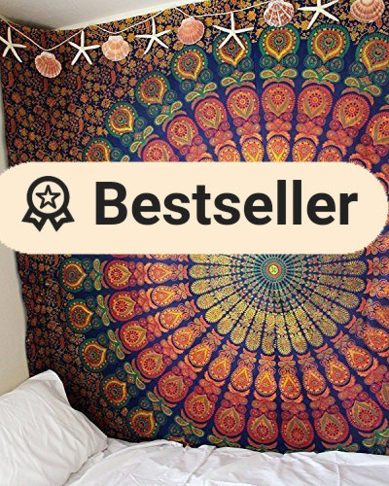 Jaicraft Green Blue Multi tapestry Wall Hanging Mandala tapestries Indian Cotton Bedspread Picnic Bed sheet Blanket Wall Art Hippie tapestry