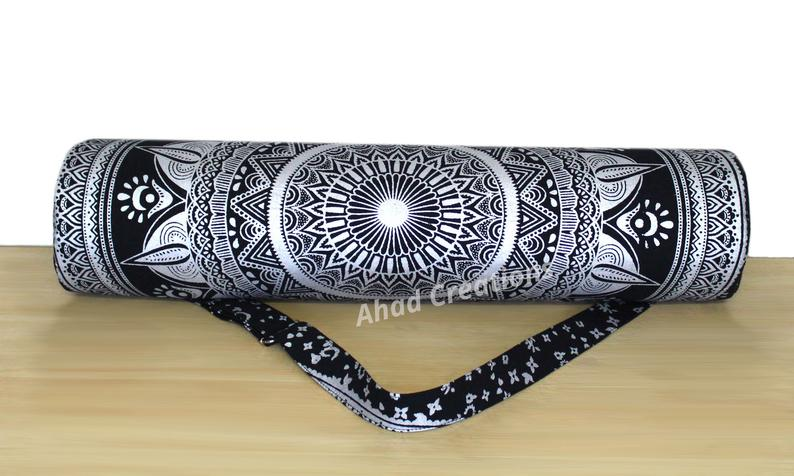 Indian Unique Black Silver Yoga Mat Bag Carry Beach Bags Hippie Mandala Gym Mat Carrier Exercise Bag Hippie Bag Beach Bag With Shoulde Strap
