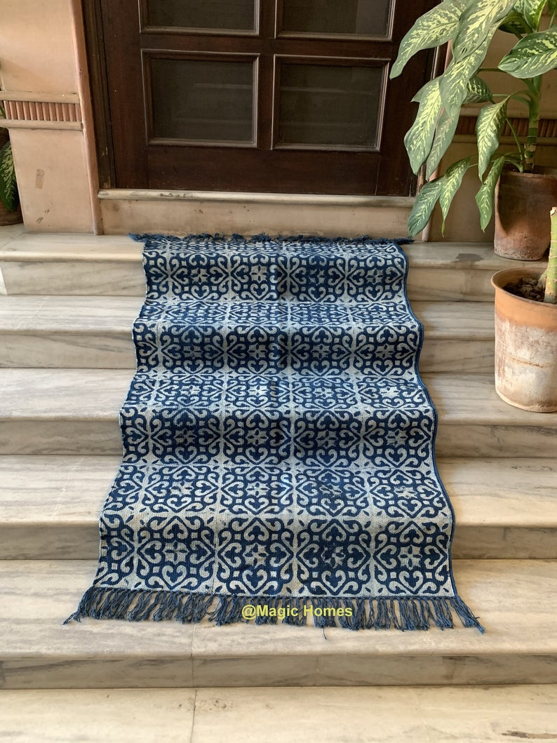 Indian Rug / Living Room Rug / Rug / Blue Rug / Floor Rug / Area Rug / Woven Carpet / Indigo Indian Rug