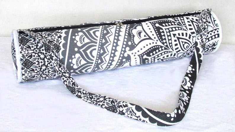 Indian Handmade Traditional 100% Cotton Portable Yoga Mat Bag With Adjustable Shoulder Strap Throw Ethnic Gym Bag , Travel Bag , Sports Bag