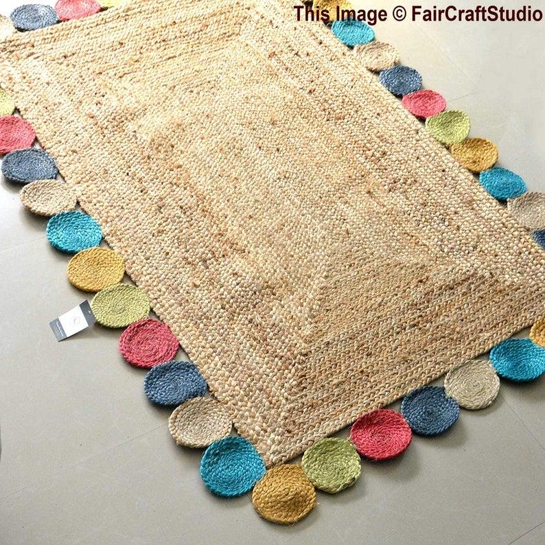 4 X 6 Jute Rug, 100% Organic Jute Area Rug, Living Room Floor Rug, Hand Braided Jute Rug Runner