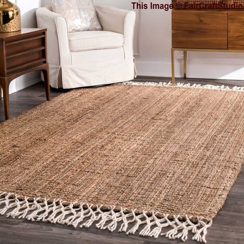 Tassled natural jute rug, Chindi rug, Yoga mat, Hand braided rag rug, Home decor rag rug, Meditation mat, Rectangular rug