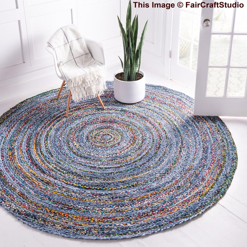 Bohemian home decor round shape rug, Hand braided jute floor area rag, Meditation floor rug, Vintage floor mat