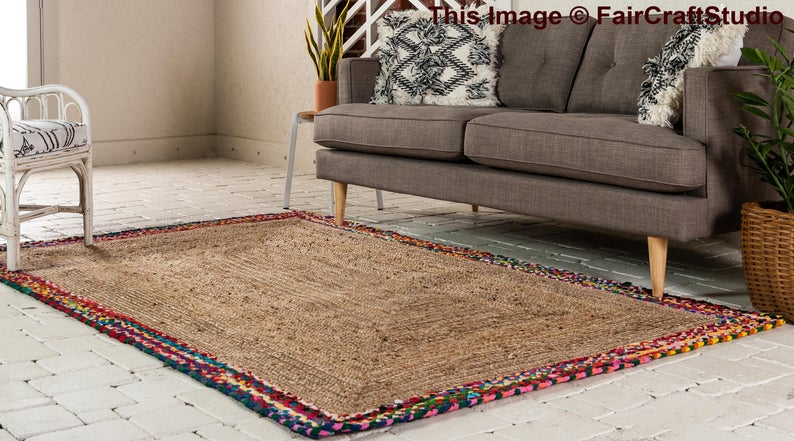 Natural Fiber Jute Area Rug, 100% Organic Jute Hand Woven Living Room Area Rug, Antique Hallways Floor Rug, Hand Braided Jute Picnic Rug