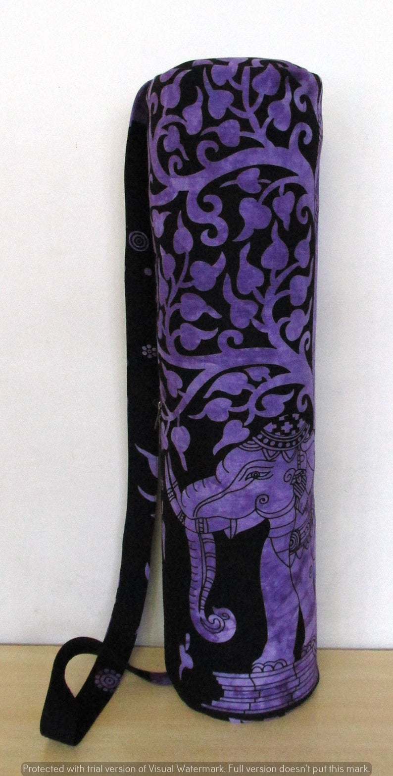Pure Cotton Traditional Portable Sports Handmade Indian New Purple Elephant Tree Tote Yoga Mat Zip Bag With Adjustable Shoulder Strap Gifts