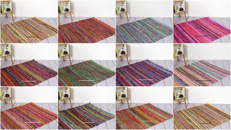 5*7 Feet Hand Braided Bohemian Colorful Cotton Chindi Area Rug Home Decor Rugs Cotton Area Rugs Rectangle Rug Rag Indian Floor Rug Yoga Mat