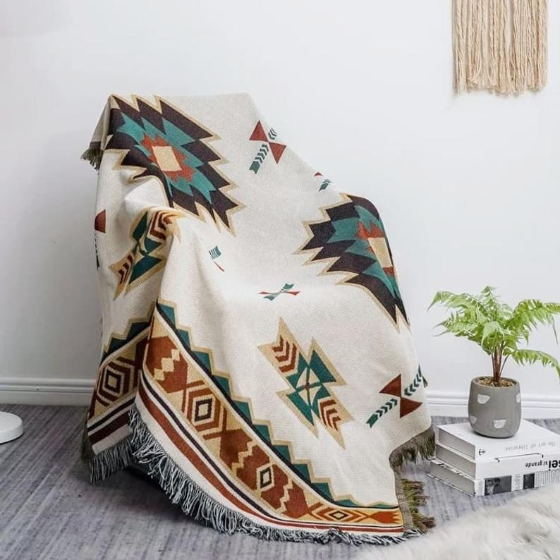 Aztec Throw Blanket Pure Cotton Decorative Fringes Woven Boho Floor Mat Decor For Your Home