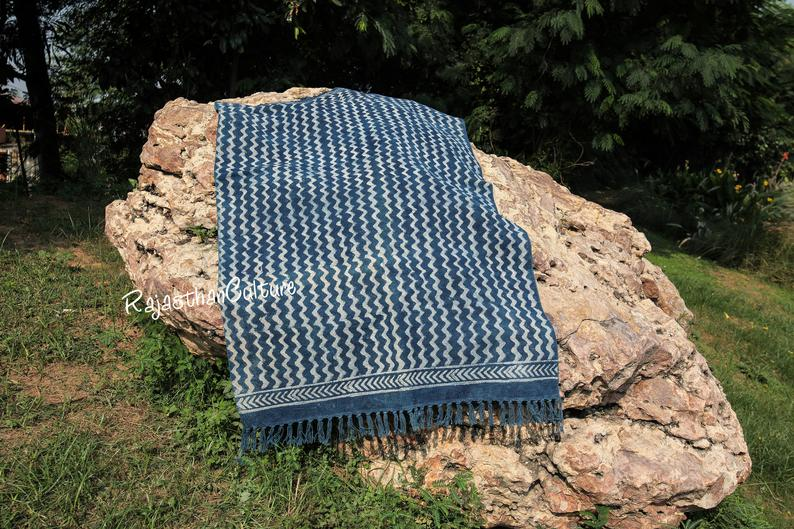 Indigo Floor Area Rug, Handmade Rug, Bohemian Home Office Decor Carpet, Handwoven Cotton Dhurrie, Modern Beach Runner 2×6″, 2×8″, 3×5″, 4×6″