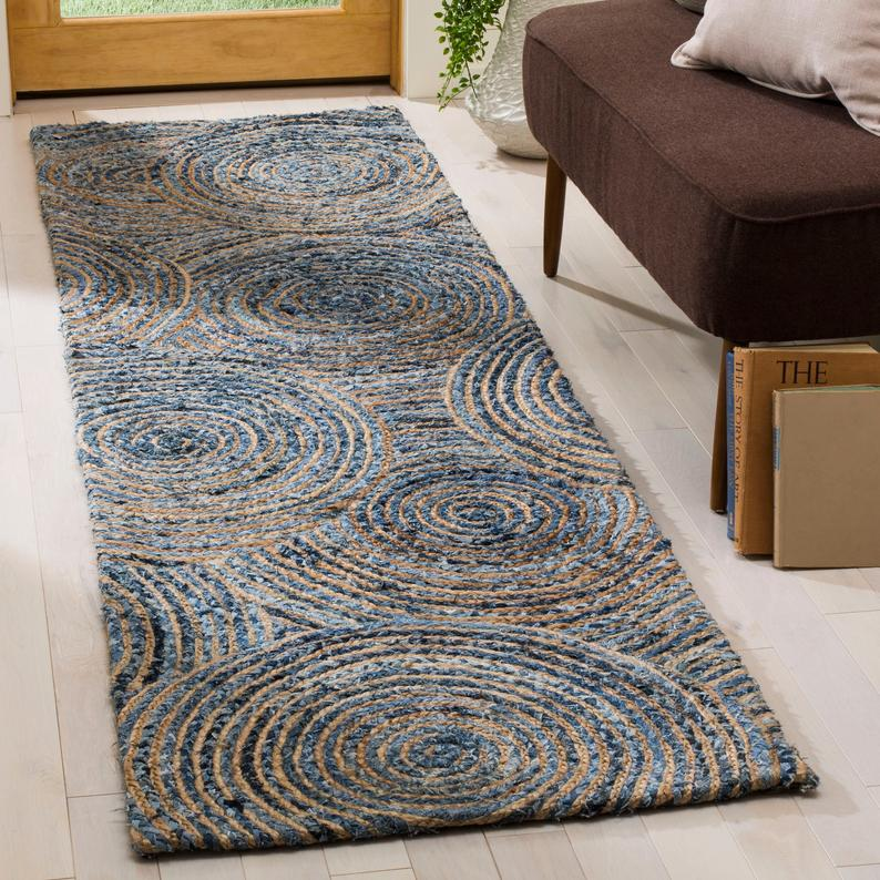 Hand-braided denim jute hallway runner 2 X 6 feet, bohemian reversible entryways rug runner 2 X 8 feet, soft braided living room area rug