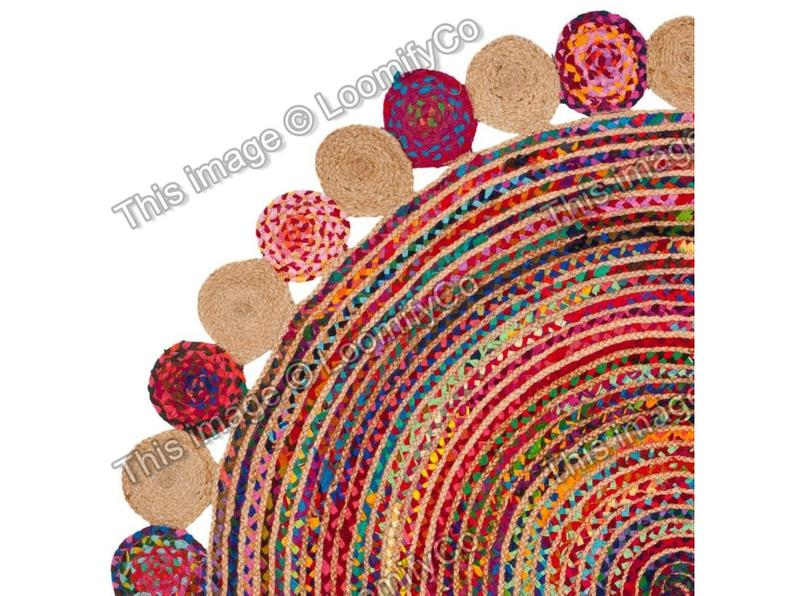 Indian Beautiful Handmade Braided jute and chindi colorful rag rug Area Round Rugs Home Decor Bohemian Indian Carpet Floor Decor Rag Rugs
