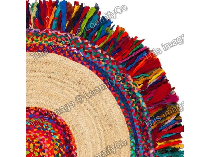 4×4, 5×5, 6×6, 8×8, 10×10 ft. Hand Braided Round Rug, Bohemian Colorful Rag Rug Reversible Cotton Round Rug,  hand Briaded Mat Chindi Rugs