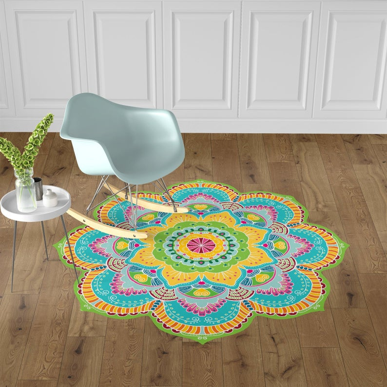 Decorative Kitchen Vinyl Mat, Yellow Colorful Mandala Vinyl linoleum Area Rugs, Mandala Home Decor Printed Art Mat