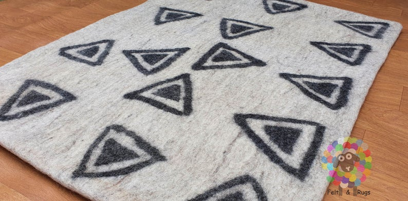 Felt Rug  handmade from 100 % wool very thick (12 mm to 15 mm thickness) sturdy and warm. (Free Shipping)