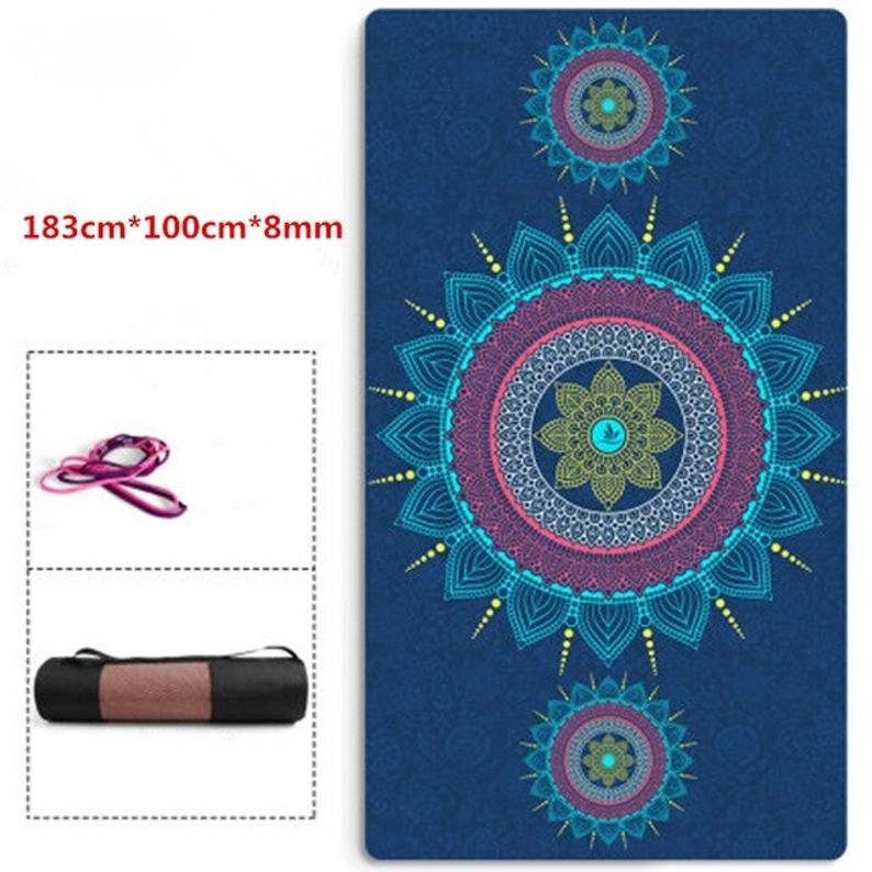 183cm*100cm*8mm Large Size Thicken Non-Slip Yoga Mat Suede TPE Quick Drying Fitness Gymnastics Pilates Meditation Exercise Mat
