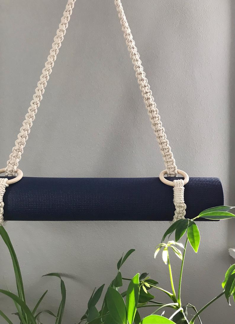 Macrame Yoga Mat Strap, Boho Pilates Mat Carrier, Yoga Mat Sling, Cross-body Mat Holder, Exercise Supplies, Yoga Gift, Yoga Accessory