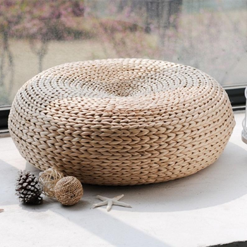 Extra Large Rustic Round Seat Cushion Pad Banana Leaf  Yoga Seat Boho Decor 40/50/60cm
