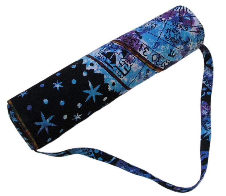 Indian Multi Tie Astrology Handmade Cotton Large Yoga Mat Bag Carry Beach Bags Hippie Gym Mat Carrier Sports Bags With Shoulder Strap Throw