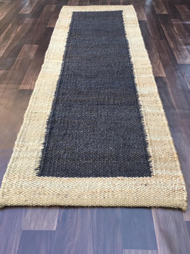 Hand loom Hemp Jute Runner Rug Handmade 2×6 Feet Jute Kilim Rug Yoga mat throw carpet  hand loomed Decorative Rug Doormat Bed side Runner