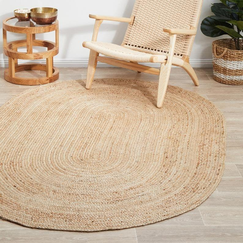 Indian Jute Floor Rug Rag Handmade Jute Rug Natural Jute Oval Rug Handmade Handwoven Ribbed Solid Area Rugs, Beautiful Floor Rug