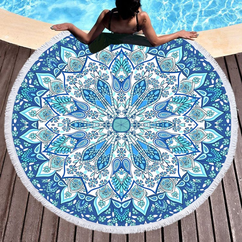 Bohemian Round Beach Towel Oversized 3D Fresh Blue Beach Blanket with Tassel Throw Picnic Tapestry Hippy Carpet Yoga Mat
