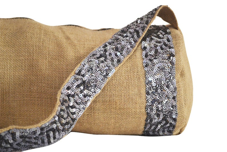 Yoga Mat Bag, Embellished Bag, Sequin Bag, Burlap Yoga Bags, Yoga Tote, Large Yoga Bag, Yoga Accessories, Gift For Her, Yoga Lover Present