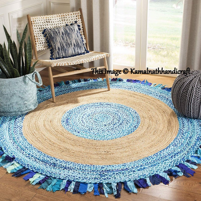 Colorful Cotton and Jute Mix Area Rug multi Colors Home Decor Bohemian Decor Indian Handmade ROUND Rug Meditation Mat Rug Rag RAG 4×4′ RUG