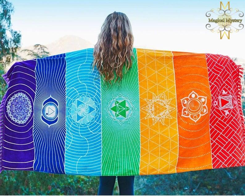 Bohemian Mandala Blanket with 7 Chakras Colorful Tapestry Beach Towel Summer Yoga Mats Reiki Blankets Reiki Chakras 7 Chakra Bedsheets