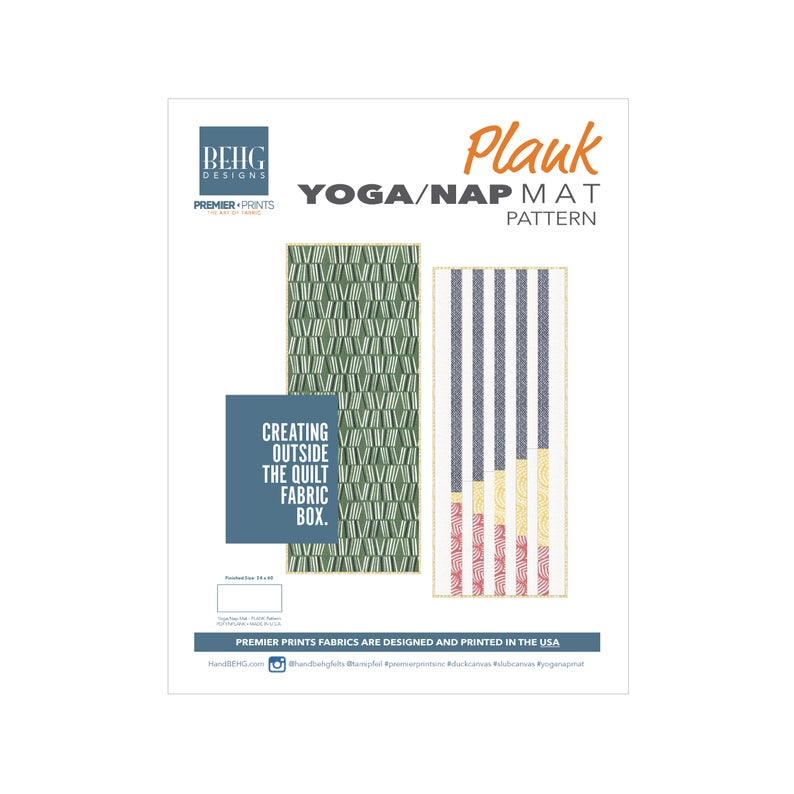 PDFPattern – Yoga/Nap Mat – Plank – BEHG DESIGNS for Premier Prints