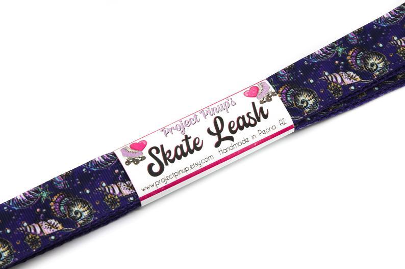 Ocean Seashells Dark Purple Roller Skate Leash with D Rings – Adjustable – Yoga Mat Strap – Skateboard Sling