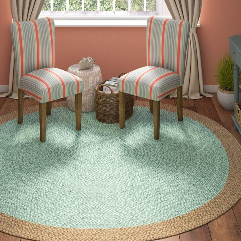 braided round rug, RUG, meditation mat, mandala rug bohemian decor, colourful area rug home decor rug floor rug circle rugs 6×6 feet Rag Rug