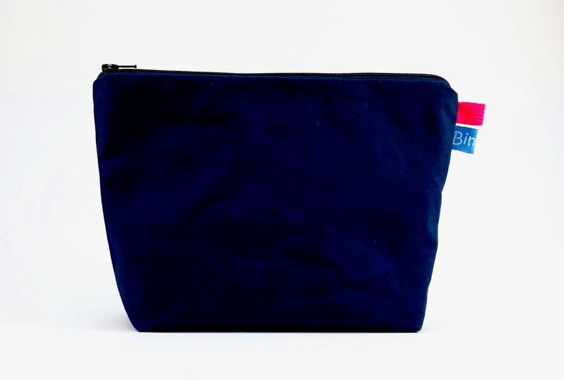 Toilet bag small in Dry Oilskin blue, make-up bag, makeup bag, 2 compartments inside