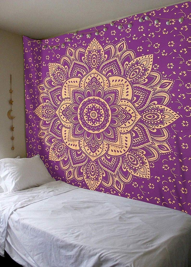 Indian Hippie Throw Blanket Yoga Mat Picnic Sheet Boho Bedspread Cotton Throw Lotus Floral Mandala Wall Hanging Bohemian large Tapestries
