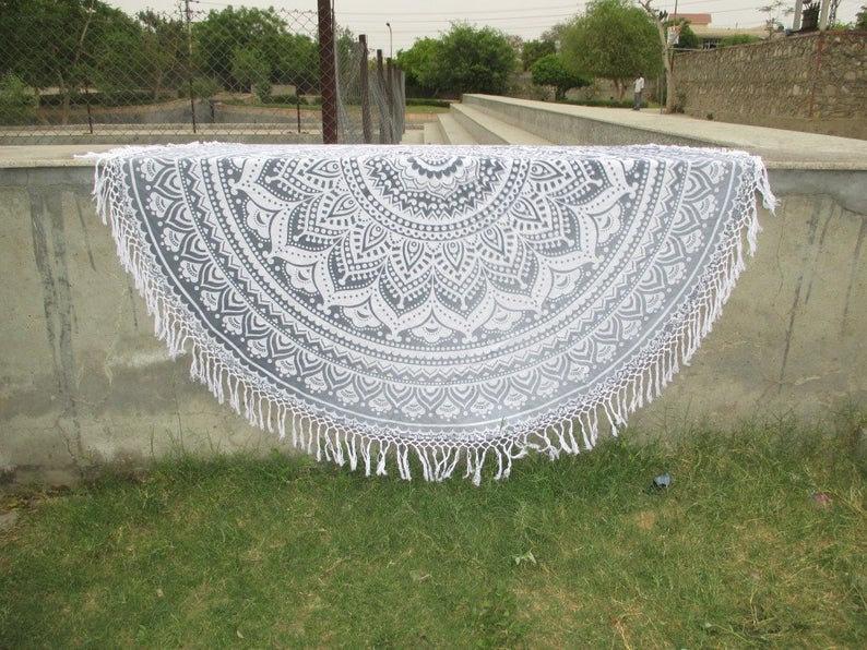 Indian Handmade Pure Cotton Round Tapestry Table Cloths Blanket yoga mat Beach Towel Beach Throw Table Cloth Picnic Blanket Round Tapestry,