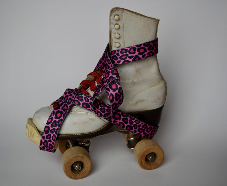 Skate Leash Pink Cheetah, skate strap, skate noose, yoga strap, skateboard strap, roller skating, stretch strap