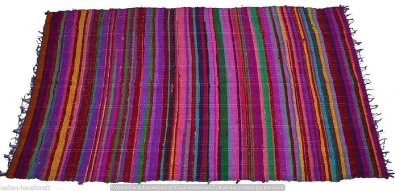 100% Cotton Indian Handmade Chindi Multi Patchwork Floor Mat Reversible Vintage Rug Dari Throw Ethnic 5X7 Feet Rectangular Chindi Wooven