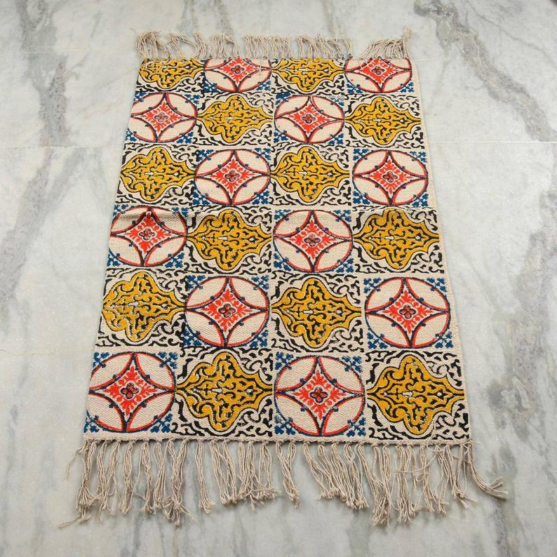 2×3 Feet Hand block print cotton Rug,Yoga Mat