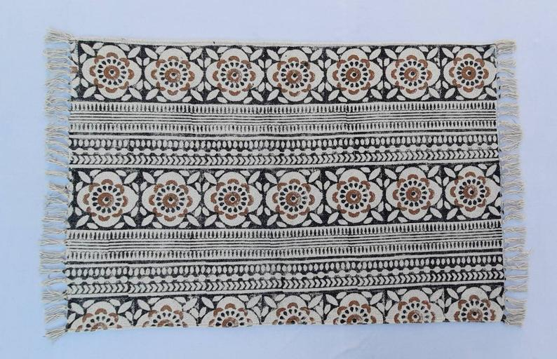 2'X3′ Cotton Handblock Printed Black,Brown and White- Handmade Block Print Small Rug 60*90 cm