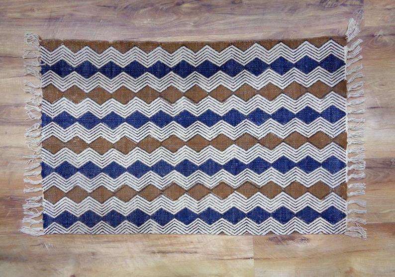 Indian Handmade Rug Floor Rug Rustic Rug Kilim Rug Printed Rug Handwoven Rug Dhurrie Rug Cotton Rug Area Rug Bath Mat 2×3 Rug