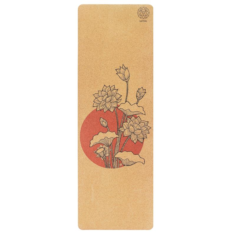 "Blossom Lotus SatoriConcept Cork Yoga Mat – 100% Eco Friendly Cork & Rubber, Perfect Size (72"" x 24"") and 4mm Thick, Non Slip"