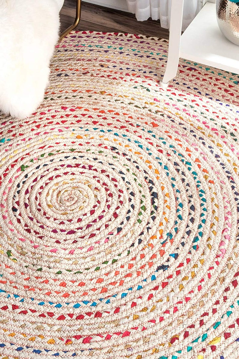 Multi-color Cotton Round Rugs With White Base Handmade & Purely Yoga Mediation Rugs Braided Beautiful Traditional Rugs Room Decor Carpet