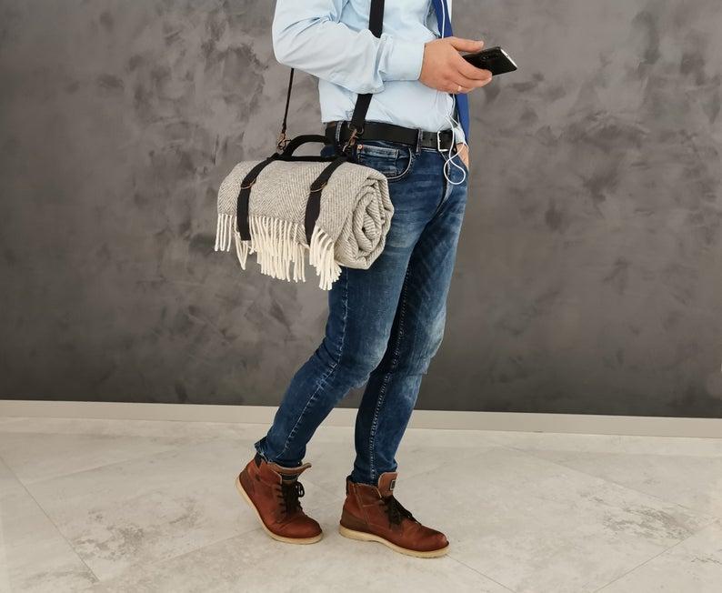 Blanket harness carrier, Linen Handle strap, shoulder bag, camping throw Handle, yoga mat handle, gift for Men, gift for Him