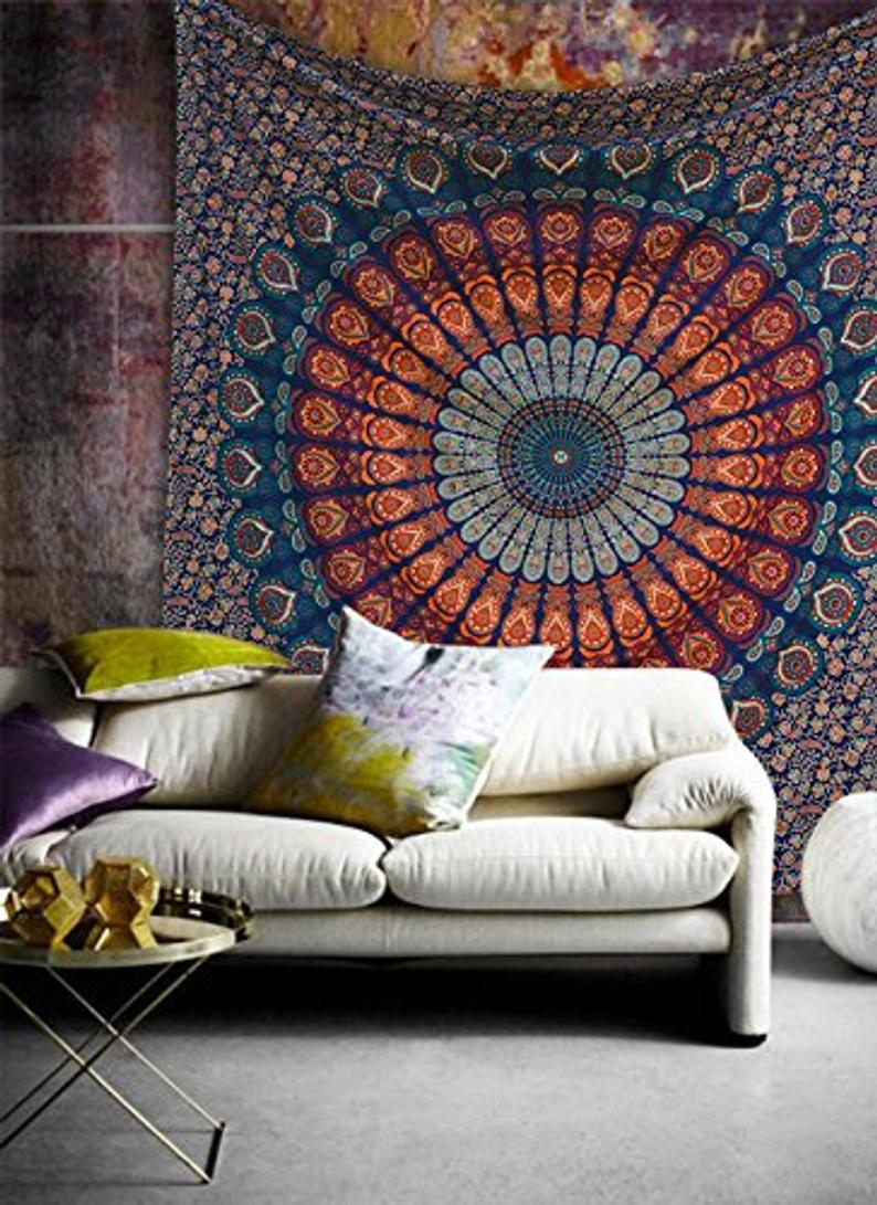Peacock Mandala Wall Tapestry ,Mandala Tapestry Wall Hanging , Hippie ,Bohemian Bedspread  Handmade Cotton Throw Beach Blanket