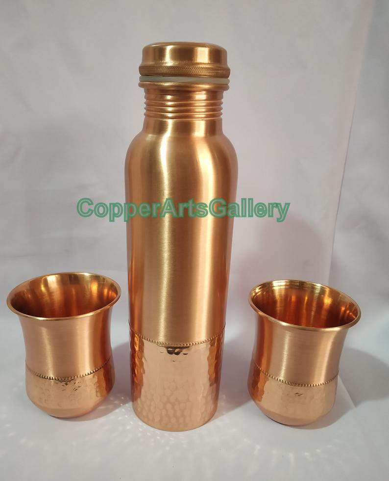 Indian handmade pure copper Hammered and mat finish water bottle & 2 glasses